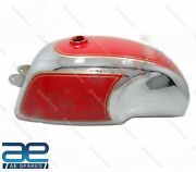Petrol Fuel Gas Tank 4 Gallon Red And Chrome For Royal Enfield Cafe Racer S2u