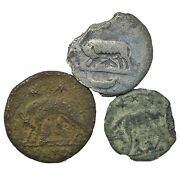 3 Ancient Roman Coin Artifacts - Romulus And Remus Nursing Wolf — 27 Bc - 476 Ad