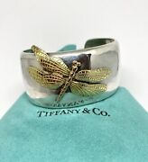 And Co Stunning Sterling Silver 18k Gold Dragonfly Wide Cuff Bracelet