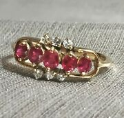 Lovely Vintage 14k Yellow Gold 50pt Natural Red Ruby And Diamond Ring - Valentines