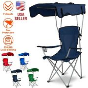 Folding Camping Chairs Outdoor Heavy Duty Travel Chair W/ Canopy Shade Portable