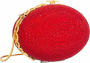 Judith Leiber Red Oval Gold Crystals Evening Bag Minaudiere Purse Egg Vintage