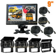 4ch 9 Monitor Bus Truck Tractor Backup Reverse System + 4x Rear View Camera Kit