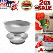 Pasta Strainer Colander Stainless Steel Metal Strainer With Handles And Bowl 3.8