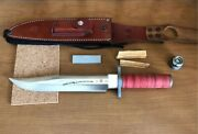 Al Mar 25th Seki-japan Special Forces Green Berets With Case Fixed Knife Vintage