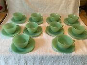Fire King Anchor Hocking Jadeite Jadite 10 Jane Ray Cups And Saucers