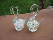 Two Figurines Pair Swans He And She Colored Art Glass Ussr Vintage Antique Item