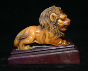 4.8 Old China Natural Shoushan Stone Carved Ferocious Animal Lion Leo Statue