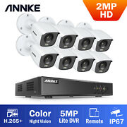 Annke 2mp Full Color Day Night Video 8ch H.265+ 5in1 Dvr Security Camera Outdoor