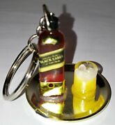 Miniature Bottle Of Johnny Walker Black Label With Cup On Tray Keychain