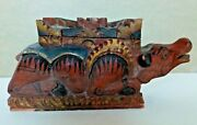 Original Vintage Hand Carved Wood Figural Balinese Temple Offering Box 50's 60's