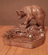 Vintage Grizzly Bear And Fish Ashtray 5 1/2 Tall 6 Wide Brown 1974 Beautiful