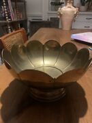Vintage Solid Brass Scalloped Footed Compote Candy Change Trinket Dish Bowl
