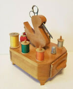 Vintage Wood Swan Sewing Thread Spool Holder And Tomato Strawberry Pin Cushion