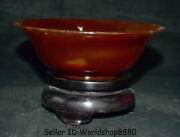 7.4 Unique China 100 Natural Red Agate Carnelian Hand Carved Round Bowl Bowls