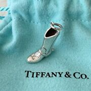 Rare And Co. Silver Cowboy Spurs Boots Boot Charm Pendant Pouch Box