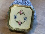 Antique Vintage Gold Tone Powder Compact With Enamel Pink Roses And Blue Bows