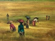 🔥 Antique Mid Century Modern Asian Chinese Bali Impressionist Oil Painting