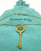 And Co 18k Yellow Gold Diamond Key Pendant With Necklace 18.5andrdquo Long