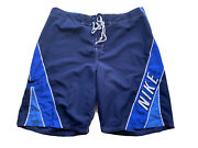 90's Nike Vintage Gray Tag Swim Board Shorts Spell Out Blue Sz 38 Best Price