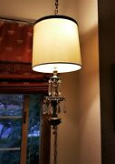 Brass Lamp With Crystals Beautiful Stiffel Hanging Light Vintage W/ Pull Chain