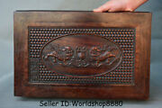 15.8 Antique Chinese Dynasty Palace Huanghuali Wood Carved Lion Dog Table Desk