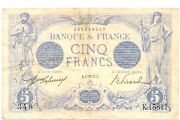 France Banknote 5 Francs 1917 French Bill Note Scarce