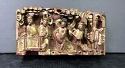 Antique Chinese Gold Wood Carving Scholars In A Garden Handcarved Intricate 3d