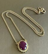 18ct Yellow Gold Diamond Ruby Necklace Oval Halo Cluster Pendant 18andrdquo Chain