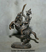 3.8 Antique Old Tibet Bronze Enlisted Man Buddha Ride Horse Broadsword Statue