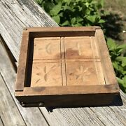 Vintage Primitive Dovetailed Wooden Butter Mold Stamp Press Hinged Box