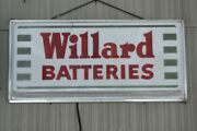 Vintage 1950and039s Willard Batteries Sign / Lighted Sign In Working Order 21 X 10
