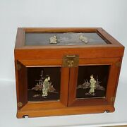 Antique Old Hand Carved Chinese Wooden Stone Jade Jewelry Box Cabinet Vanity