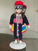 Hmong Hill Tribe Porcelain Doll W/papoose Ceremonial Dress Thailand 14 W/stand