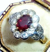 Large Art Deco Style 18ct Gold Pigeon Blood Ruby And Diamond Ring Size M 1/2