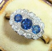 Vintage Art Deco Style 18ct Gold Sapphire And Diamond Trilogy Halo Ring Size P1/2