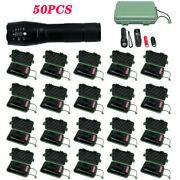 50pack 90000lm Tactical 5modes T6 Led 18650 Flashlight Zoom Torch Aluminum Light