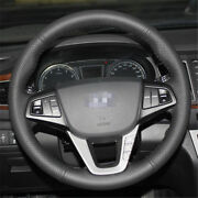 Anti Slip Black Leather Hand Sewing Steering Wheel Cover For Hyundai Mistra