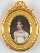 Antoine Paul Vincent 1798-1817 Young Lady In White, Fine Miniature, 1810s