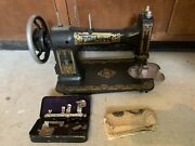 Antique White Family Rotary Treadle Sewing Machine Black Gold Stenciling Flowers