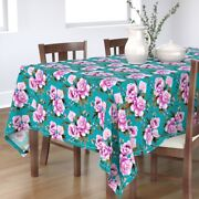Tablecloth Peony Pink Flower Turquoise Blue Retro Vibrant Floral Cotton Sateen