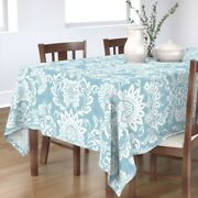 Tablecloth White Blue Leaves Floral Nature Turquoise Cotton Sateen