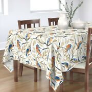 Tablecloth Teal Orange Birds Forest Turquoise Watercolor Cotton Sateen