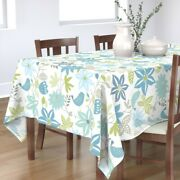 Tablecloth Blue Leaves Vines Grey Birds Turquoise Cotton Sateen