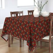 Tablecloth Sunset Turquoise Aqua Seeds Hand Drawn Afrocentric Cotton Sateen