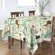 Tablecloth Cream Floral Trees Turquoise Women Botanical Cotton Sateen