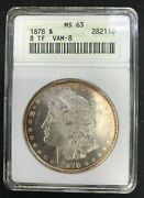 1878 8tf Morgan Dollar Anacs Ms63 Vam 8 Stick Feather - Nicely Toned