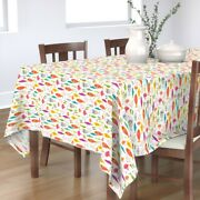 Tablecloth Fish Rainbow Pink Turquoise Stripes Ocean Underwater Cotton Sateen