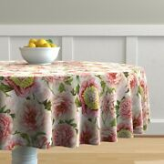Round Tablecloth Victorian Vintage Blush Peonies Spring Floral Cotton Sateen