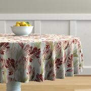 Round Tablecloth Victorian Vintage Botanical Spring Floral Cotton Sateen